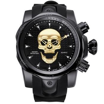 2019 Men's Skull Quartz Watch Men Skeleton Creative Watches Rubber Male Clock Water Resistant Wristwatches Relogio Masculino