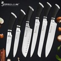 Sowoll 6 шт. набор кухонных ножей хорошего качества экономичный нож из нержавеющей стали набор шеф-повара хлеб нарезки Santoku утилита фруктовый н...