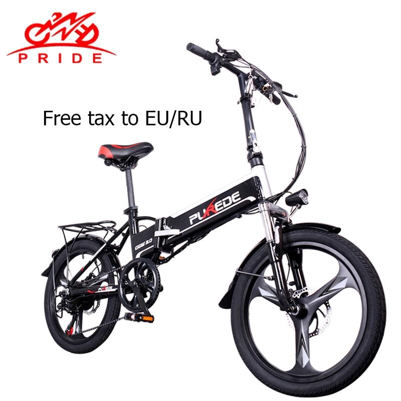 Vélo électrique 48V12. 5A batterie au lithium 20 pouces En Aluminium vélo électrique pliant 350 W Puissant Montagne e vélo de Neige/plage ebike