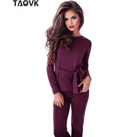 TAOVK Women Tracksuit Round Collar Top With A Belt And Long Pant Two Piece Set Suit