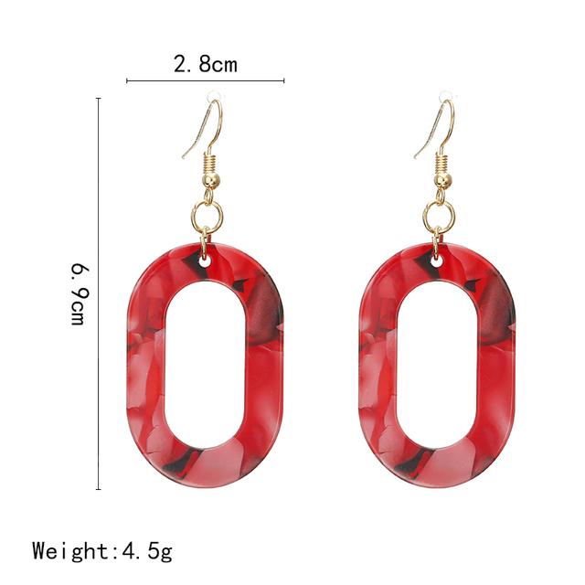 2018 Fashion Trend Jewelry Simple Design Geometric Earrings Round Tortoise Shell Resin Acrylic Earrings for Women Wholesale