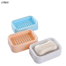 CTREE 1Pcs New Portable Soap Case Dishes Double layer Waterproof Leakproof Box With Cover Bathroom Accessories 10 Color C27