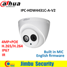 Dahua 4MP IP Camera IPC-HDW4431C-A-V2 replace IPC-HDW4431C-A POE multiple language CCTV Dome Camera IR50M H.265 Built-in-MIC