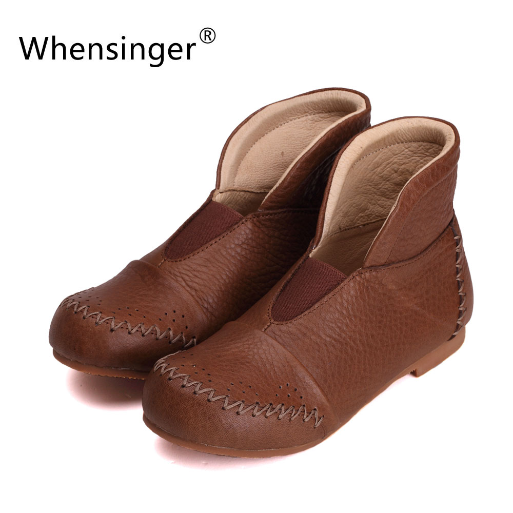 Whensinger - 2017 Women Fashion Boots Full Grain Leather Round Toe Slip-On Handmade Sewing 2 Colors 1130 ollin professional зажимы бабочка 12 шт 2 вида зажимы бабочка 12 шт 2 вида 12 шт 55 мм