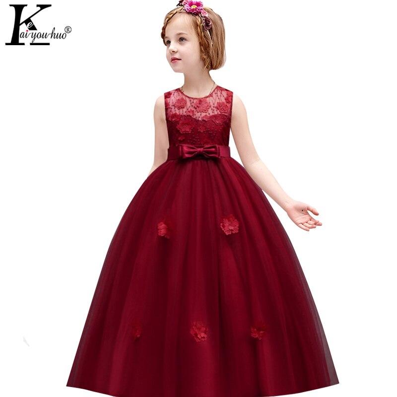 Keaiyouhuo crianças vestidos para meninas roupas de verão meninas vestido elegante vestidos de festa criança vestido de princesa adolescentes vestido de casamento