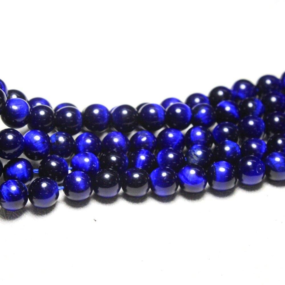 cca91fc19890 Venta al por mayor de cuentas de piedra semigema de ojo de tigre azul  profundo Natural de grado superior para hacer joyería DIY pulsera collar  6 8 10 12mm ...
