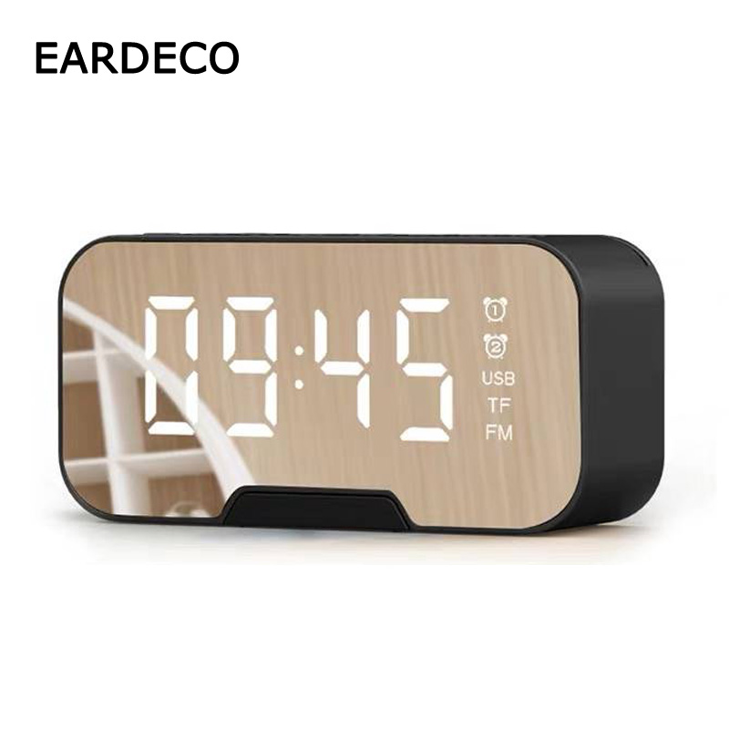 EARDECO Alarm Clock Phone Holder Bluetooth Speaker Stereo Portable Wireless Subwoofer Speakers Hifi TF FM Radio Mirror