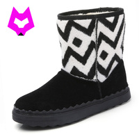 Snow Boots Bota Feminina Sweet Style Pinkycolor Round Toe Botas Femin Flat Solid Black Yellow Ankle