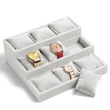 Negro gris rojo de la rosa de terciopelo pulseras relojes display caja de tres capas de la joyería accesorios de rack rack titular con nueve almohadas mini diseño