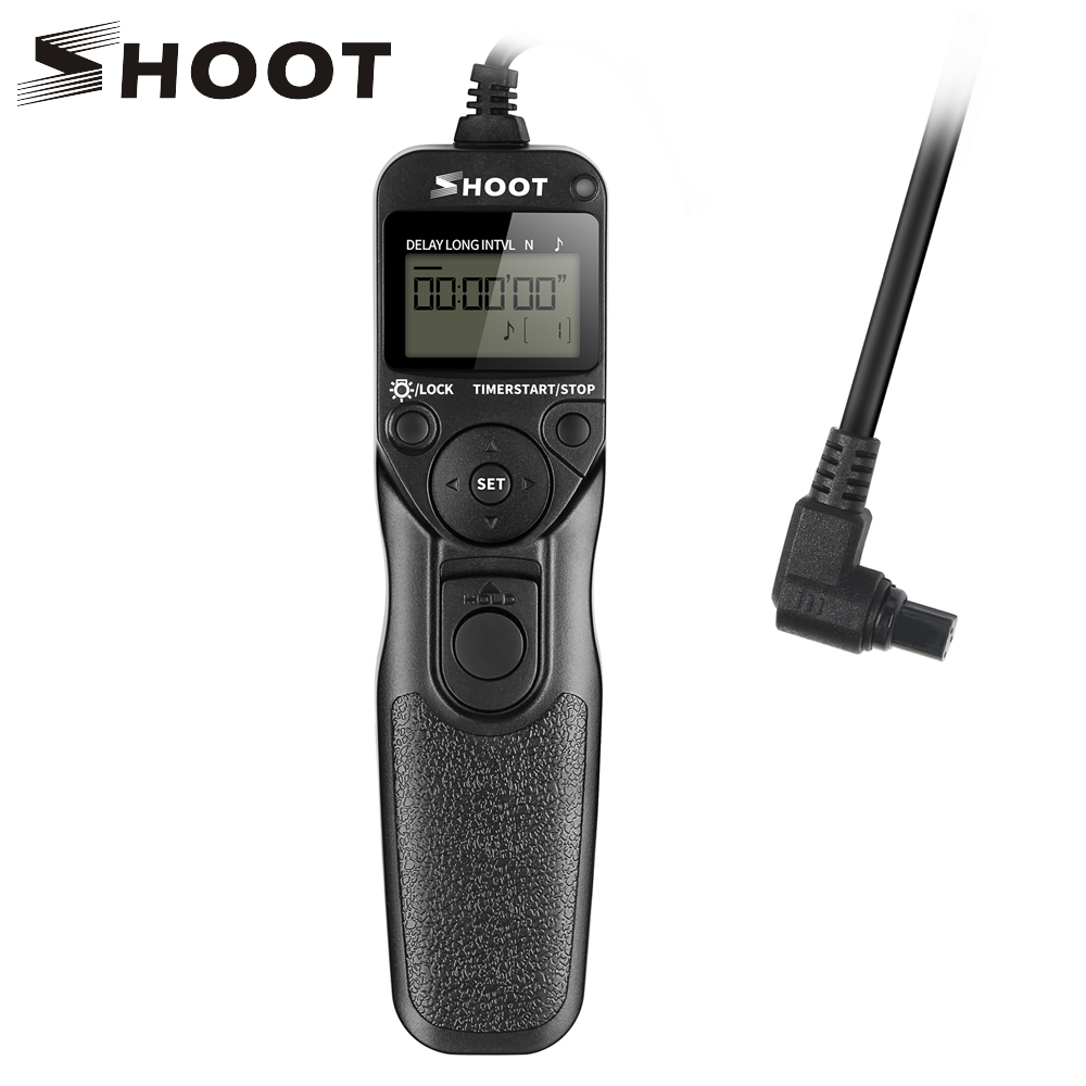 SHOOT RS-80N3 LCD Timer Remote Shutter Release for Canon EOS 5D 6D 7D 10D 20D 30D 40D 50D D30 D60 Mark III Mark II 1Ds Mark III rs 80n3 wired remote shutter release for canon 5d mark iii 5d mark ii more black 85cm cable