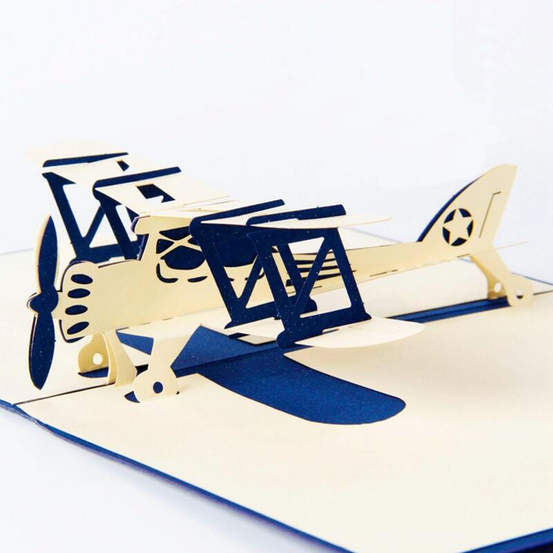 Handmade 3D Aircraft model Pop Up Greeting Cards Kirigami Birthday Postcard Invitation Card Paper Crafts Xmas Gifts 3pcs/lot creative gifts 3d pop up card greeting