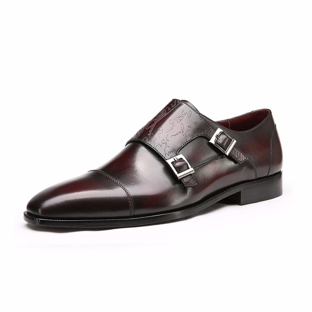 TERSE_China manufacturer handmade genuine leather monk shoes men luxury goodyear welted dress shoes in burgundy/ purple OEM ODM