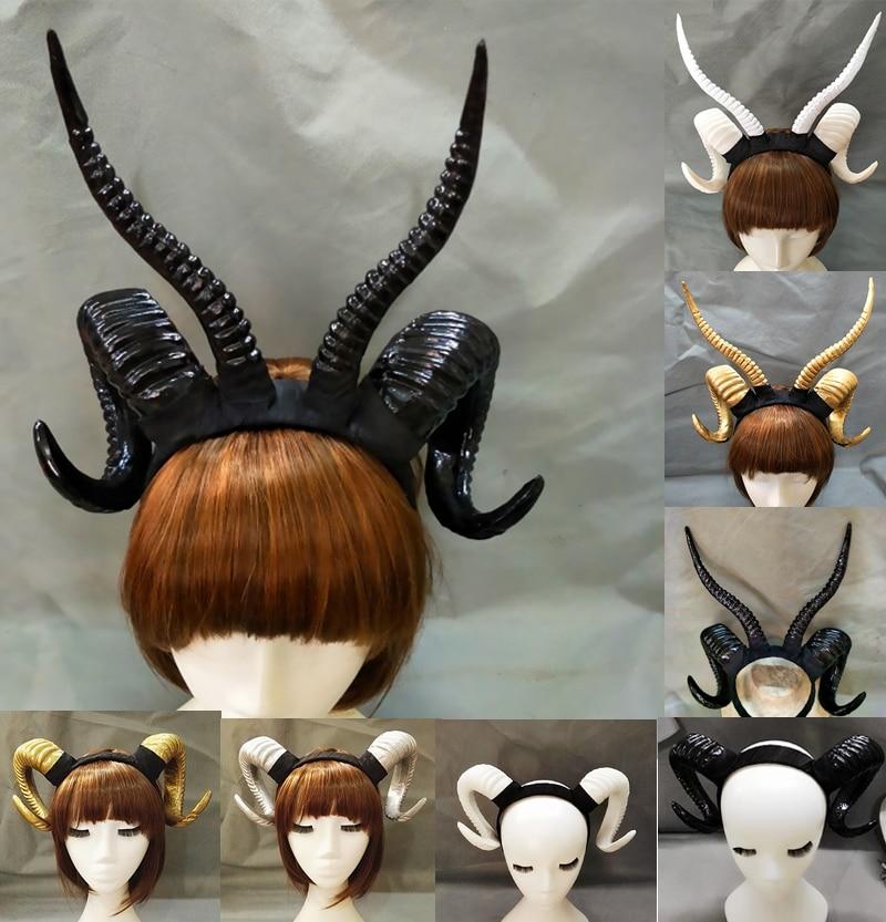 Halloween Cosplay Devil Horns Headband Devil Horns Headpiece Gothic Antelope Sheep Horn Hoop Headband Forest Animal Photography