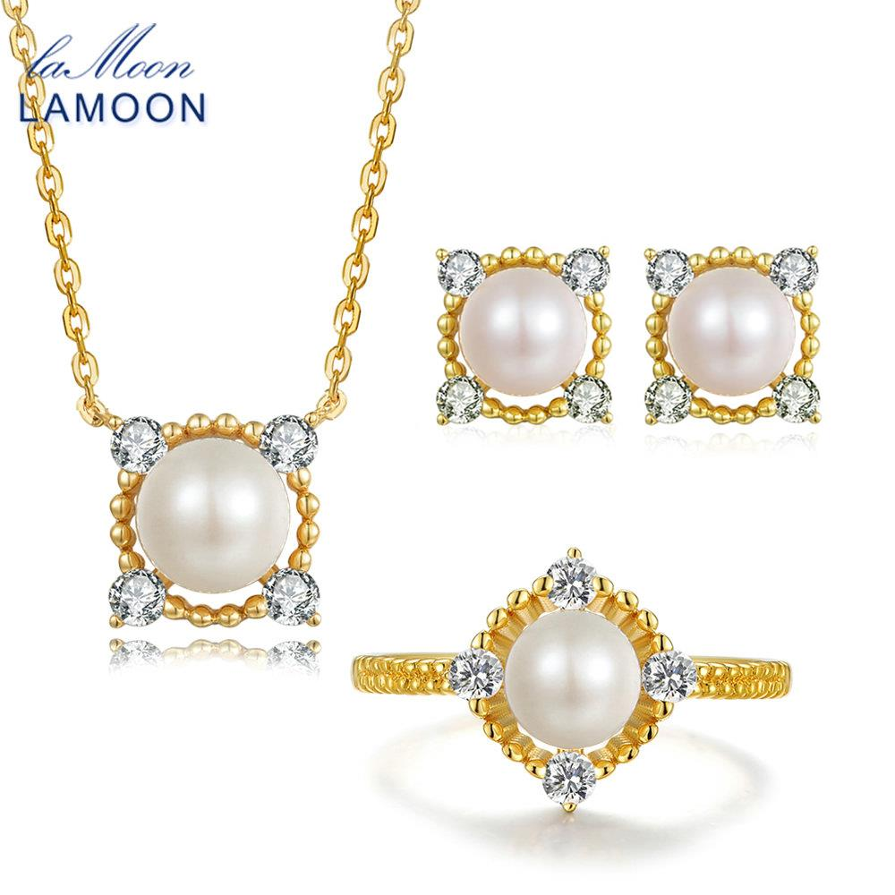 LAMOON 8mm 100% Natural Freshwater Pearl Jewelry 925 Sterling Silver Jewelry Pendant Jewelry Set V036-1 crystal jewelry set sterling silver jewelry 100% 925 formal jewelry set natural freshwater pearl