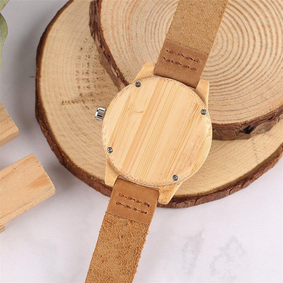 Minimalist Arabic Numerals Bamboo Women Watches 12