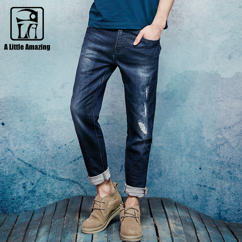 2016 Autum New Mens Stretched Denim Slim Straight Distressed Jeans Ripped Patchwork Resin Wash Selvedge Cloth Jeans 16647S-6 2017 biker jeans mens high stretched zipper distressed jeans new fashion pantalones vaqueros hombre bmy1903