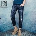 2016 Otoño Nuevo Mens Denim Estirada Delgado Straight Jeans Gastados Ripped Patchwork Vaqueros Orillo de Tela de Lavado de Resina 16647S-6