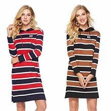 acc3ba844e13 Knitted Dresses Women Winter Autumn Striped Hooded Pullover 2018 Long  Sleeve Wrap Harajuku Sweatshirt Sporty Midi Sweater Dress