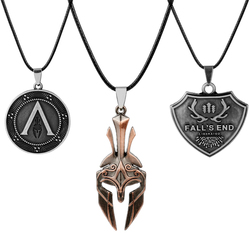 Hot Game Jewelry Spartan Spear of Leonidas Mask Necklace Men Women Punk Accessories Metal Pendant Necklaces