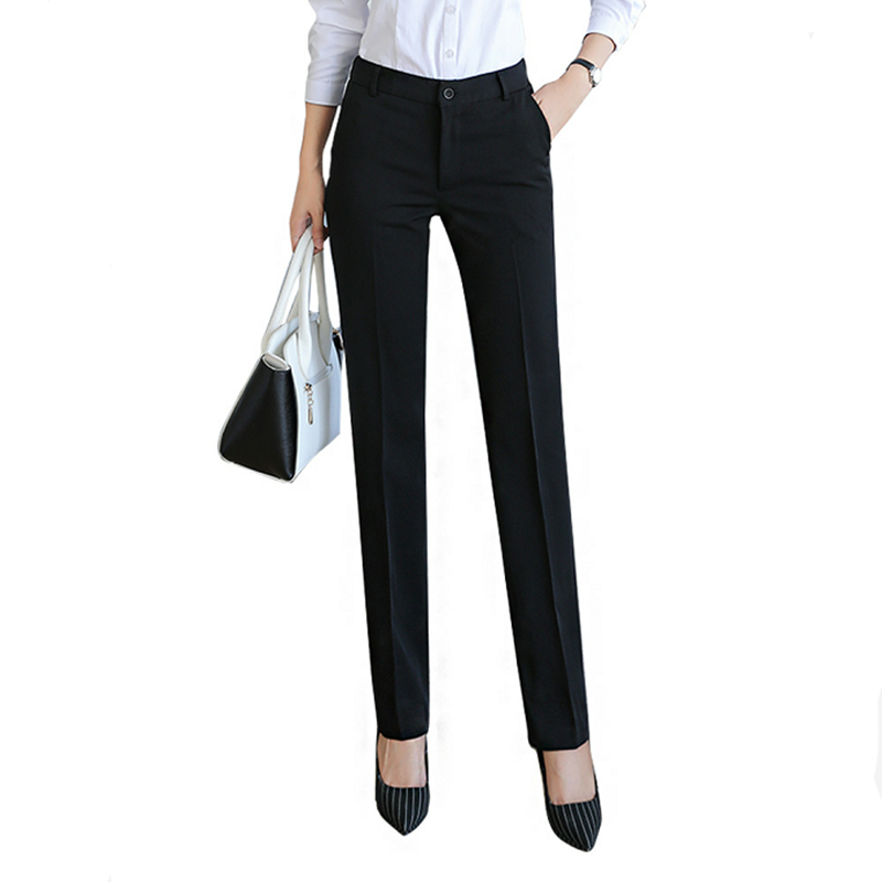 Women's Trousers Professional Straight Tooling Work Pants Dress To Work Autumn And Winter Pants Suit Pants Black Trousers Women