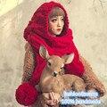 Мода Милые Женщины Зима Теплая Толстая Ручной Шапочка Шарф и Перчатки Вязаная Шапка Шапки