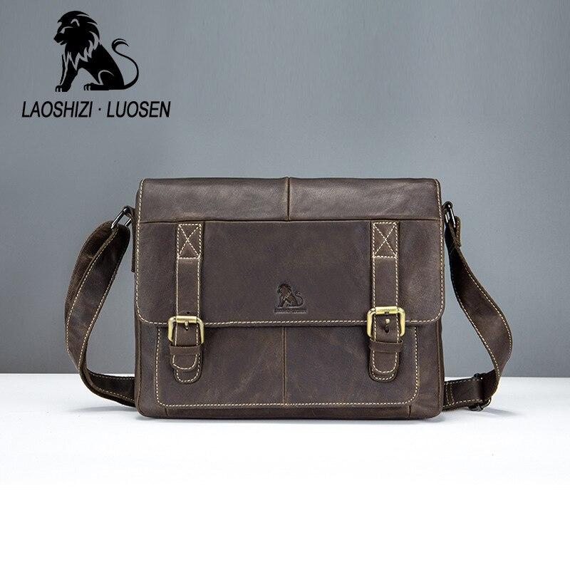 LAOSHIZI LUOSEN sac à bandoulière pour homme en cuir véritable sac à main décontracté fourre-tout de voyage sac à bandoulière homme porte-documents pour les affaires
