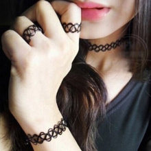 High Quality Black Tattoo Handmade Choker Bracelets/Ring/Necklace Pendant Jewelry Sets Retro Elastic Stretch Gothic(China)