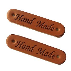 free shipping 50pcs/lots hand made leather labels for Clothes bags shoes handmade fabric labels for sewing tags