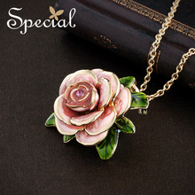 Special Wedding Maxi Necklace Enamel Rose Necklaces Pendants Rpmantic Flower European Style Jewelry Gifts for Women