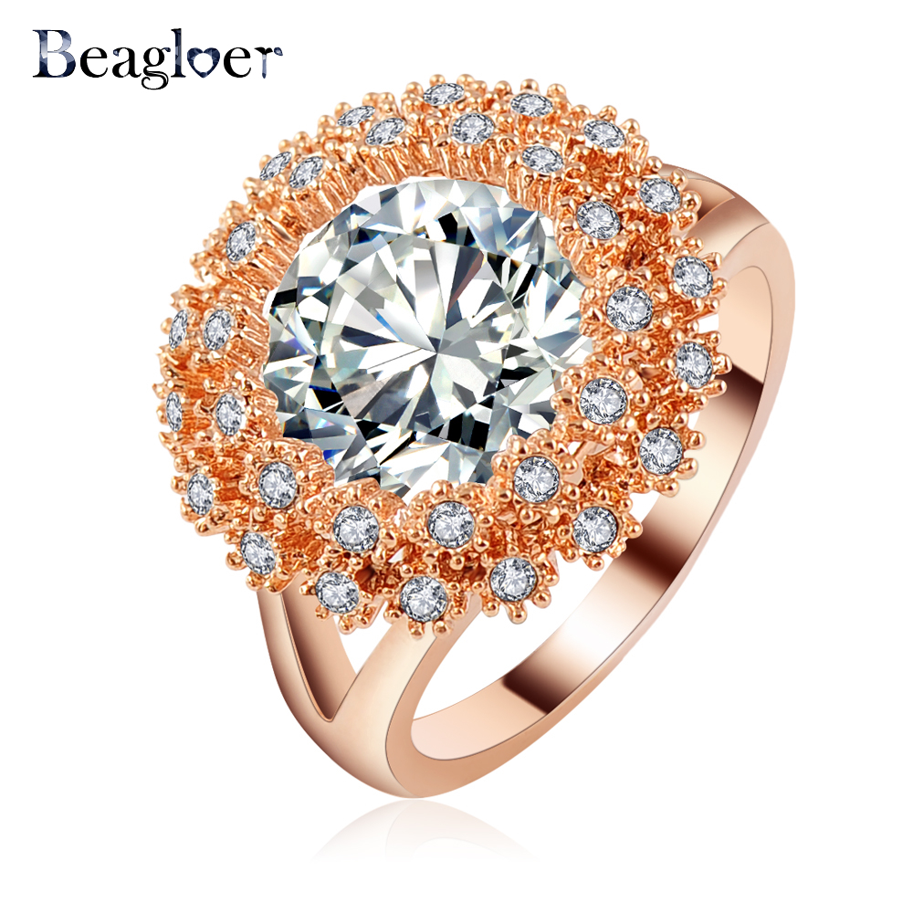 Beagloer Trendy Delicate Crystal Flower Rings Rose Gold Color Swa Element Gothic  Engagement Rings Ri