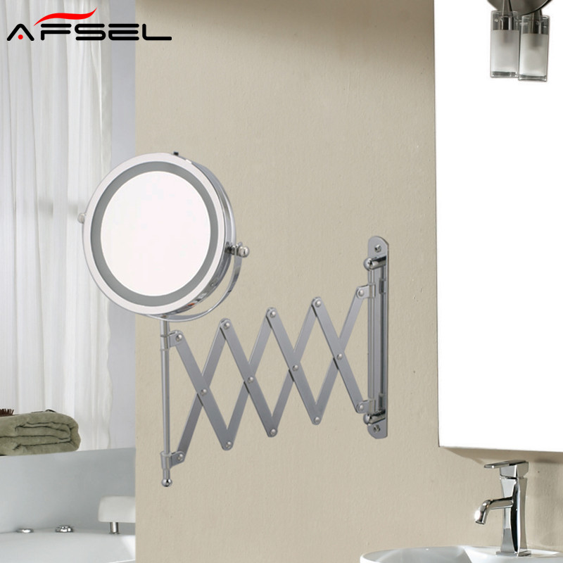AFSEL 7 Inch Makeup Mirrors LED Wall Mounted Extending Folding Double Side LED Light Mirror 5x Magnification Bath Toilet Mirror