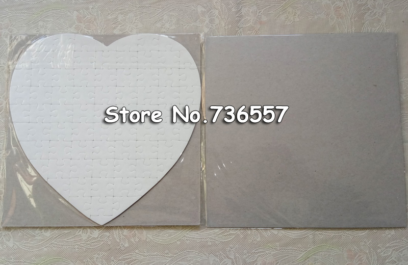 Free Shipping 10 Sets Heart Size Hardboard Sublimation Blank Jigsaw Puzzle  Love Style