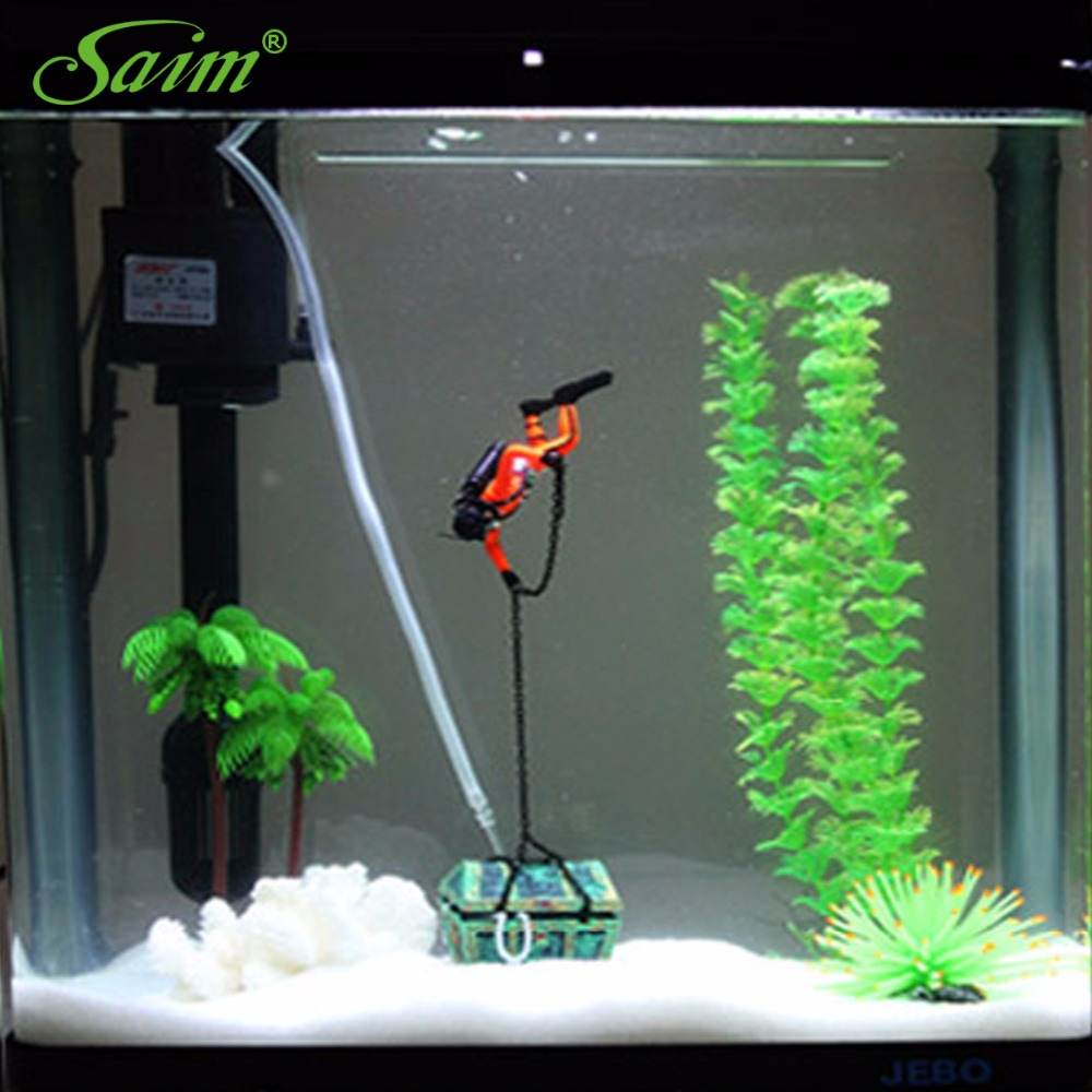 Saim Unique Design Aquarium Fish Tank Decoration Hunter Diver Treasure  Figure Action Acuarios Landscape Ornaments For