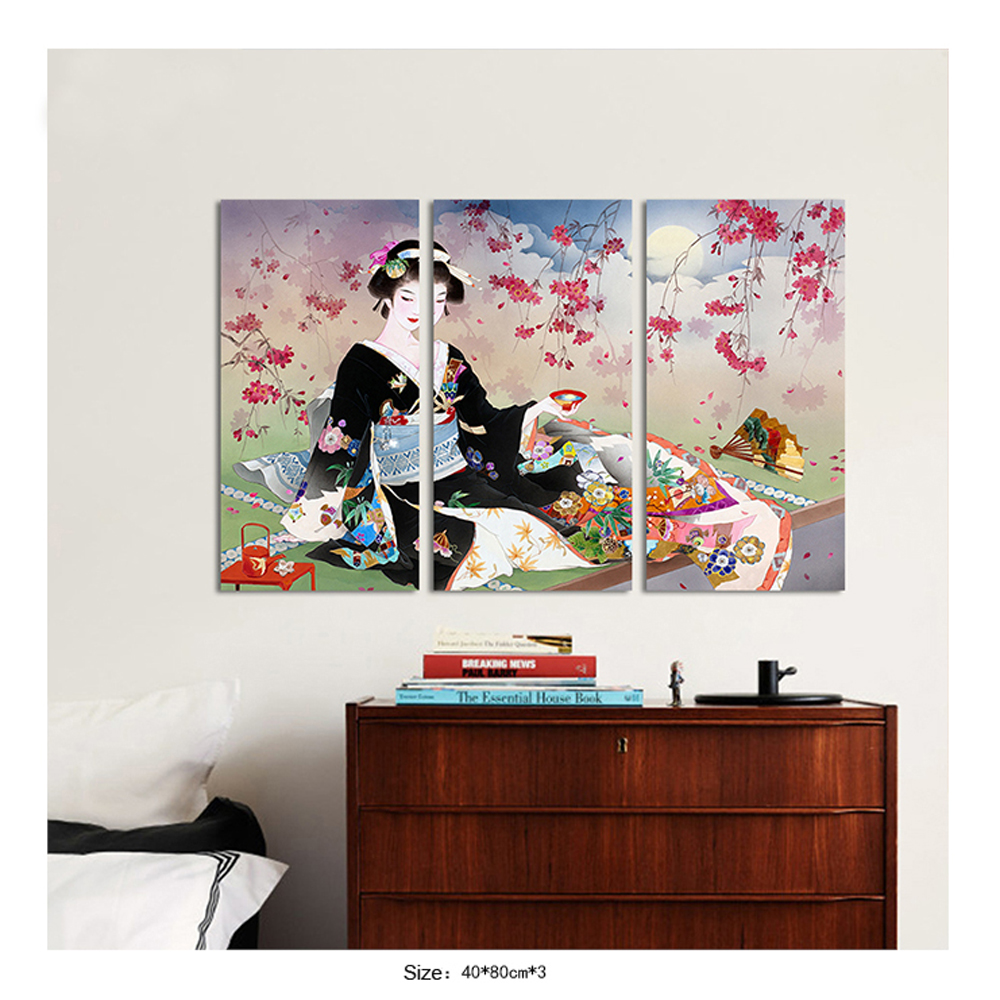 3 Pieces Japan Style Red Kimono Lady Canvas Painting For