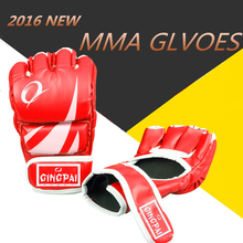MMA Gloves Muay Thai Training Gloves MMA Boxer Fight Kick Boxing Equipment Half Mitts Badboy PU Leather Black Red Blue