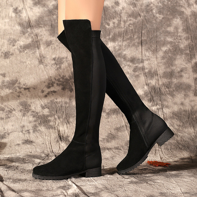 d290c1edce3c8 Women s Fall Winter Flats Knee High Boots Stretch Fabric Patchwork Genuine  Leather Tall Boots for Women Brand Designer Shoes Hot