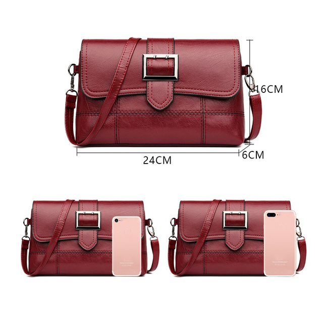 REPRCLA Brand Designer Women Shoulder Bag Fashion Handbag and Purse PU Leather Crossbody Bags for Women 2019 New Black&Red 3