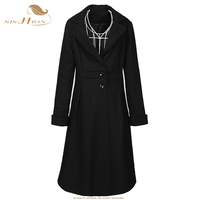 SISHION Women Black Coat 2018 Winter Long Sleeve Single Breasted Ladies Vintage Wool Coat wool blend Lace Up Back Coats WC0001