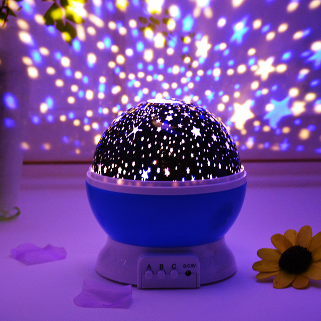 Led Rotating Star Projector Novelty Lighting Moon Sky Rotation Kids Baby Sleeping Lights Nursery Night Light