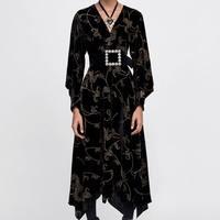 Spring 2019 Print Women Fashion Velvet Long Dress Vintage V neck Flare Sleeve Loose Female Mid Calf Dresses Vestido Mujer Casual