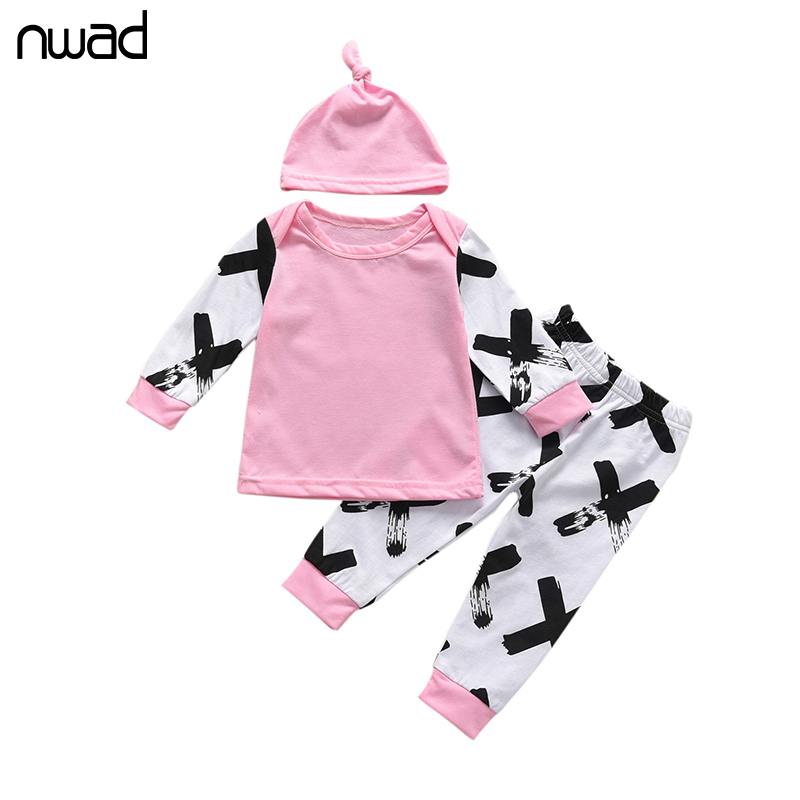 NWAD Newborn Infrant Baby Girls Clothes Cotton Long Sleeve Tops Romper +Long Pants Hats 2Pcs New Baby Clothing Set