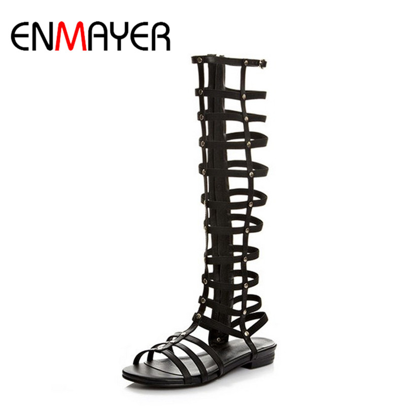 ENMAYER Black Low Fashion Knee-High Boots Breathable Hole Female Boots High-leg Hole Shoes, Summer Boots Big  Leather BootsENMAYER Black Low Fashion Knee-High Boots Breathable Hole Female Boots High-leg Hole Shoes, Summer Boots Big  Leather Boots