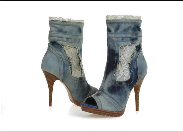 7f4364e24dafd US $355.2 |Hot Blau Frauen Denim Waden Stiefel Mode Stilettos Pumpen  Schnüren Cowboy Peep Toe High Heels Schuhe jean freies Verschiffen in Hot  Blau ...