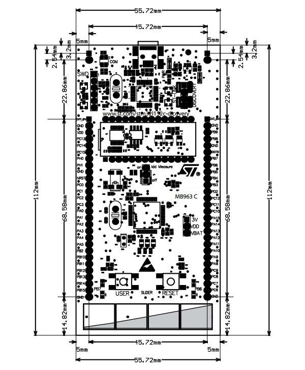STM32L152C-DISCO board dimensions