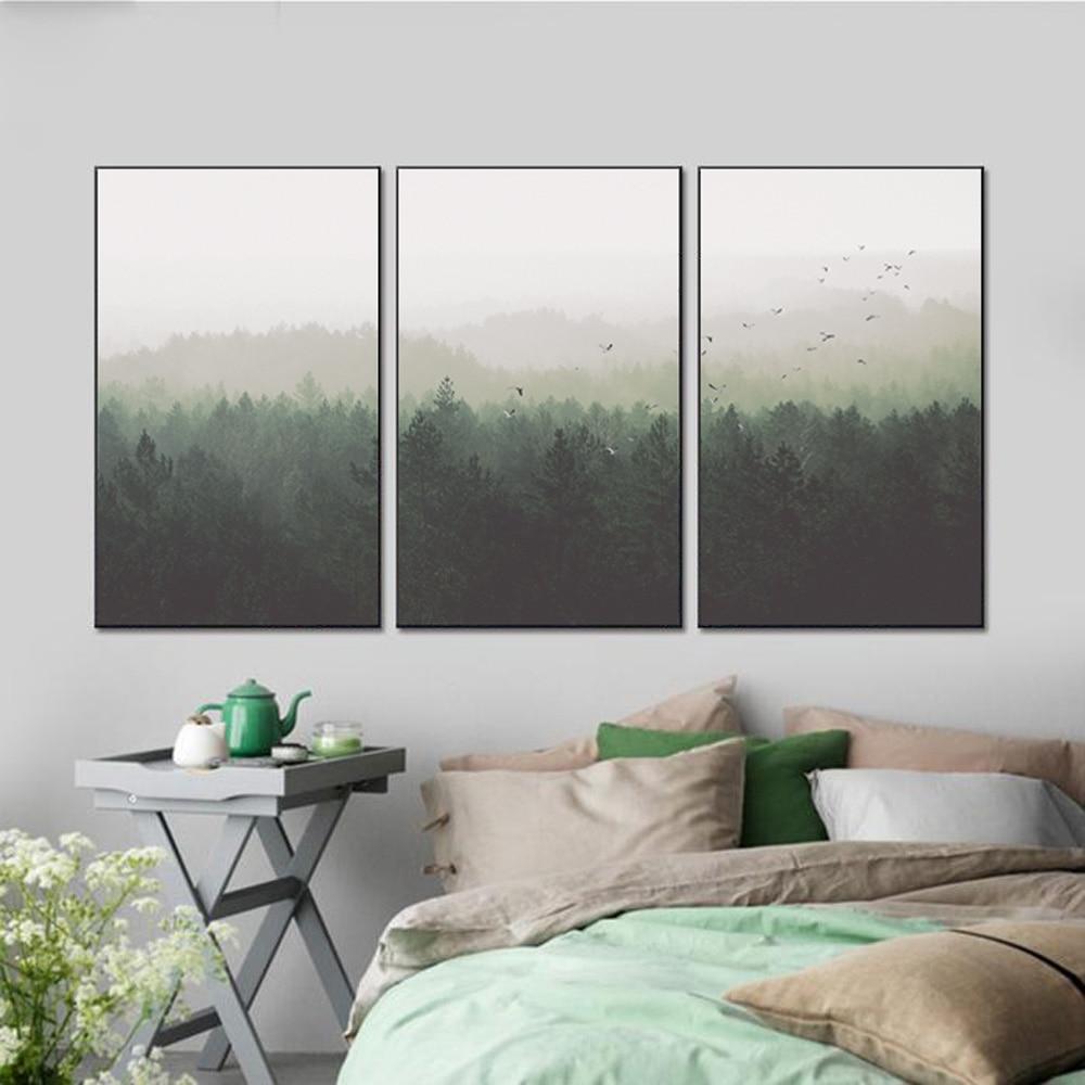 Nordic Dekoration Wald Landschaftswand-kunst Leinwand Poster und ...