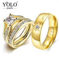 Stainless Steel Couple Rings for Lovers Cubic Zirconia Ring Set for Girl God is Love Statement Suitable for Wedding YOLO Jewels