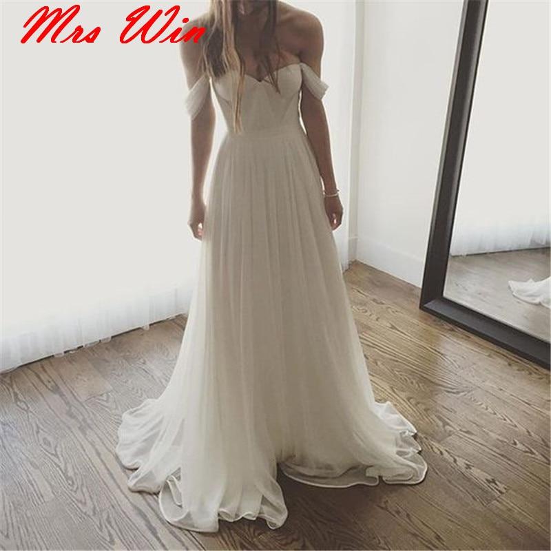 Simple Off Shoulder Beach Wedding Dresses 2019 Chiffon Wedding Dress vestido de noiva princesa White Ivory Bride Dresses