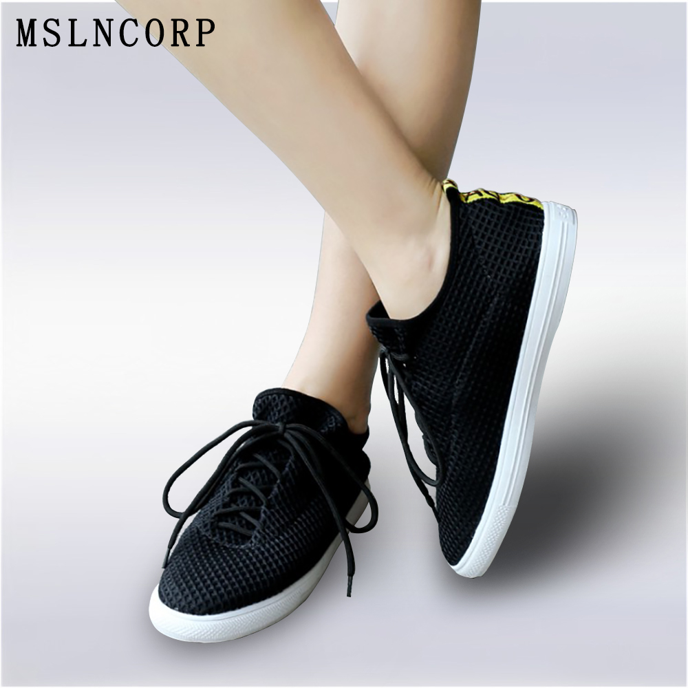 plus size 34-46 New Fashion Women Flat Casual Shoes Breathable Air Spring Summer Platform tenis sneakers Lace Up students shoes plus size 34 43 new platform flat shoes woman spring summer sweet casual women flats bowtie ladies party wedding shoes