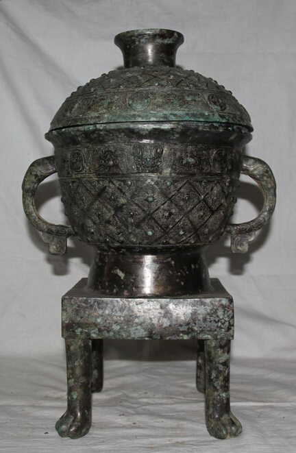 JP S0524 17 Archaic China Chinese Bronze Dynasty Palace Kitchen Stove Cook Caldron Set