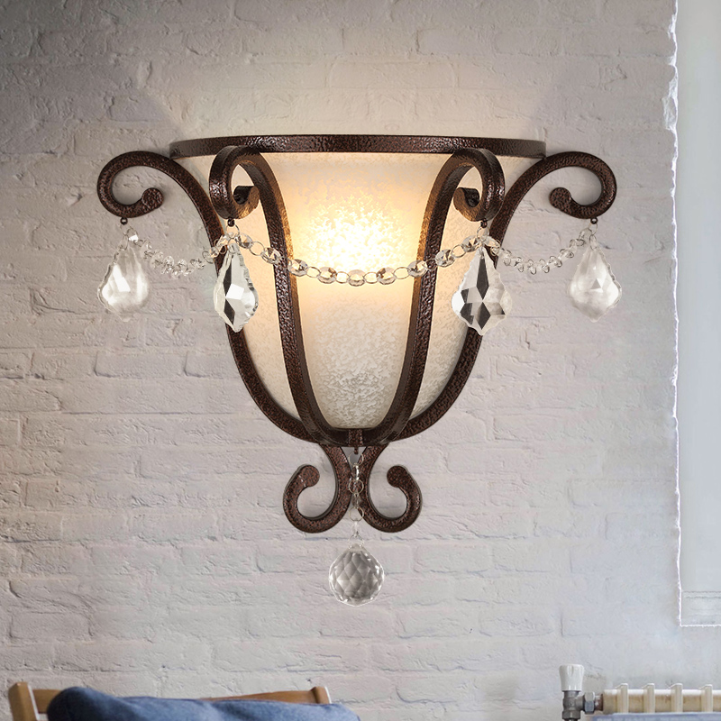 American vintage Iron loft industrial wall lamp indoor lighting bedside lamps wall lights for home 110V/220V E27 Edison Bulb wholesale price loft vintage industrial edison wall lamps clear glass lampshade antique copper wall lights 110v 220v for bedroom